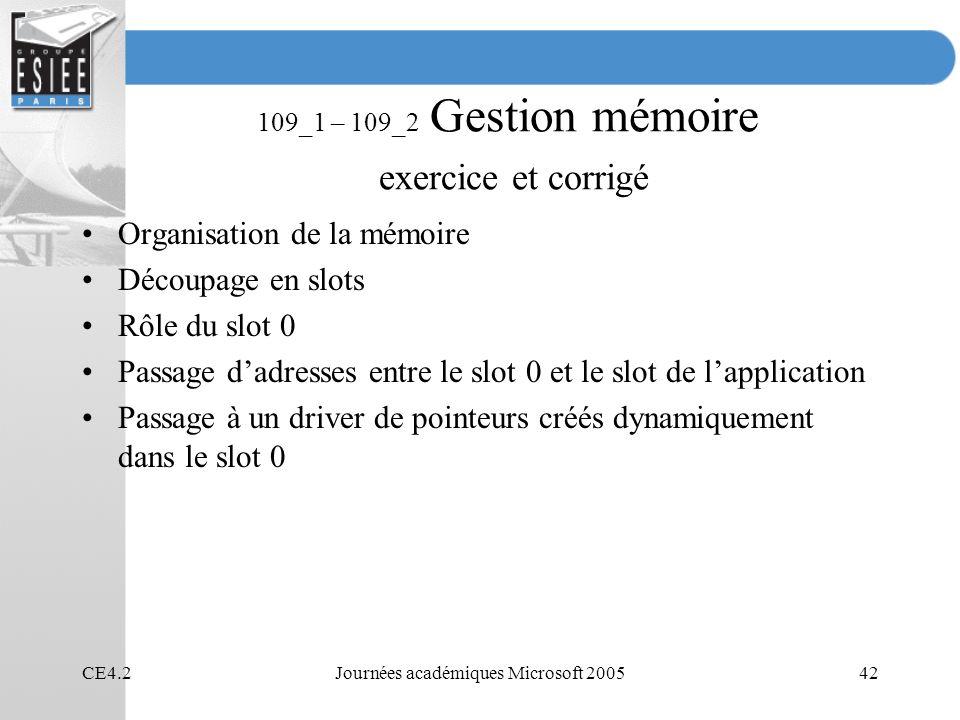 109_1 – 109_2 Gestion mémoire exercice et corrigé