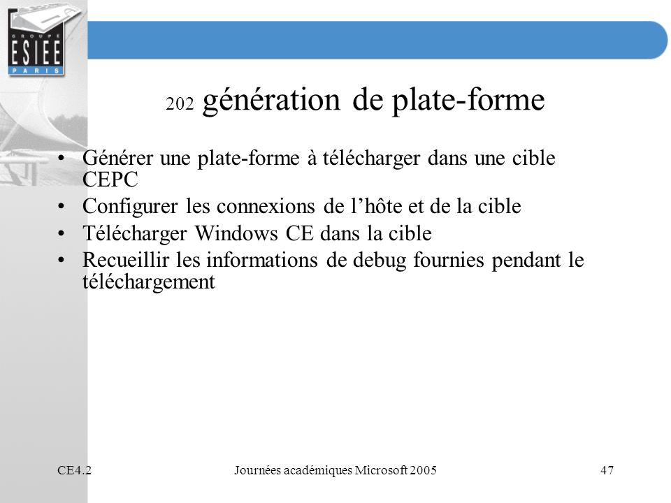 202 génération de plate-forme