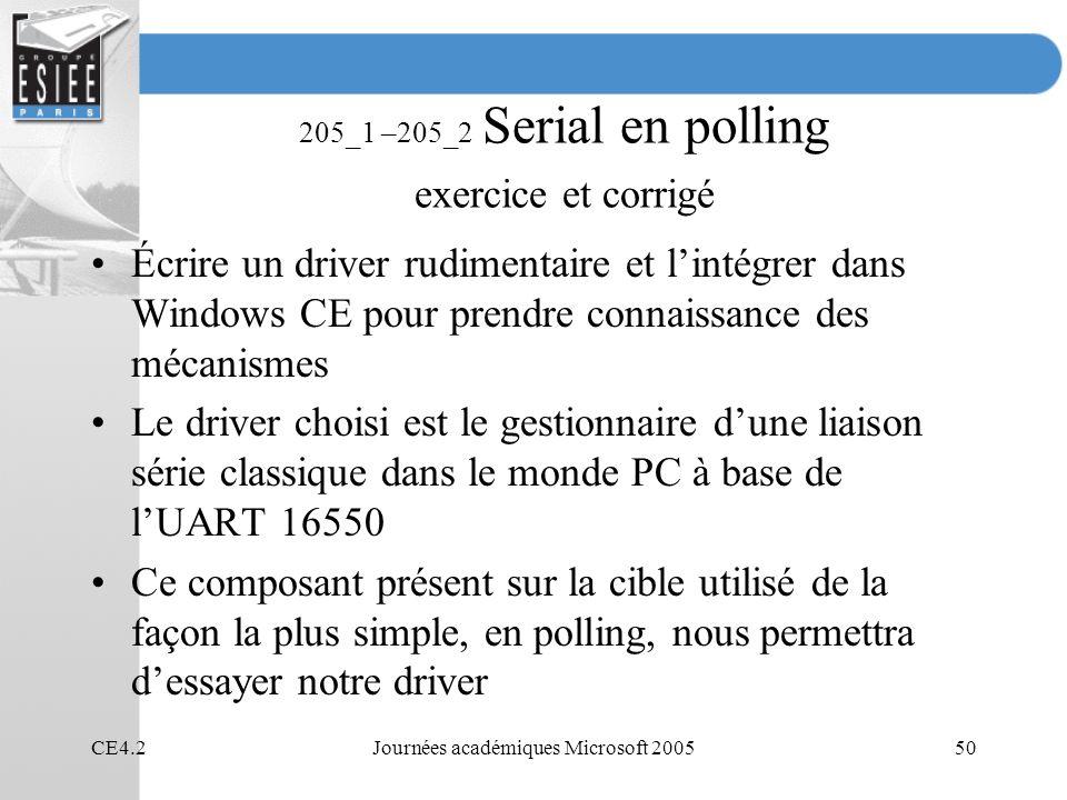 205_1 –205_2 Serial en polling exercice et corrigé