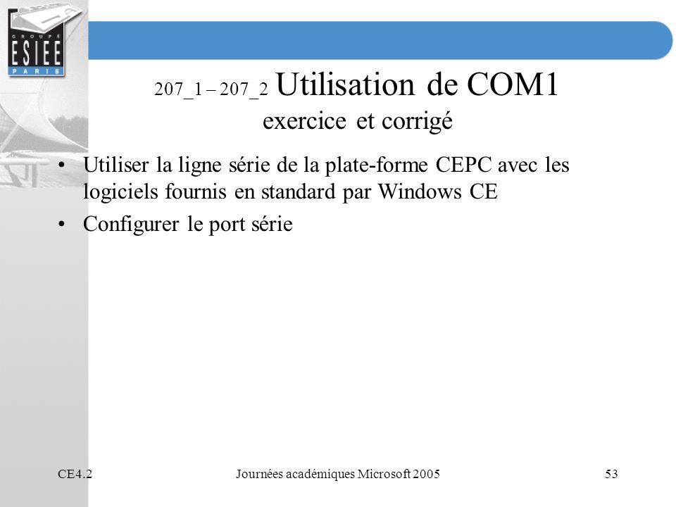 207_1 – 207_2 Utilisation de COM1 exercice et corrigé