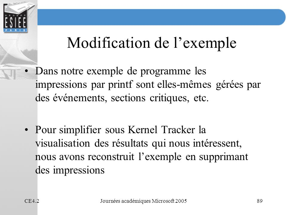 Modification de l'exemple