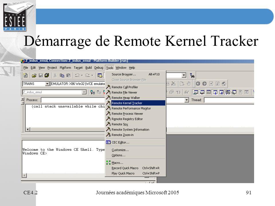 Démarrage de Remote Kernel Tracker