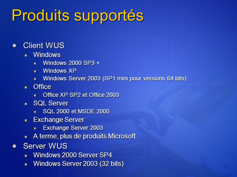 Produits supportés Client WUS Server WUS Windows Office SQL Server