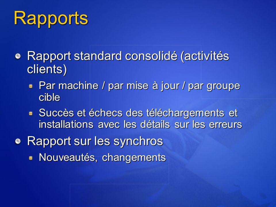 Rapports Rapport standard consolidé (activités clients)