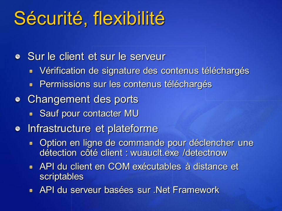 Sécurité, flexibilité Sur le client et sur le serveur