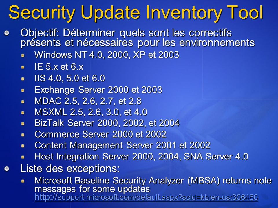 Security Update Inventory Tool