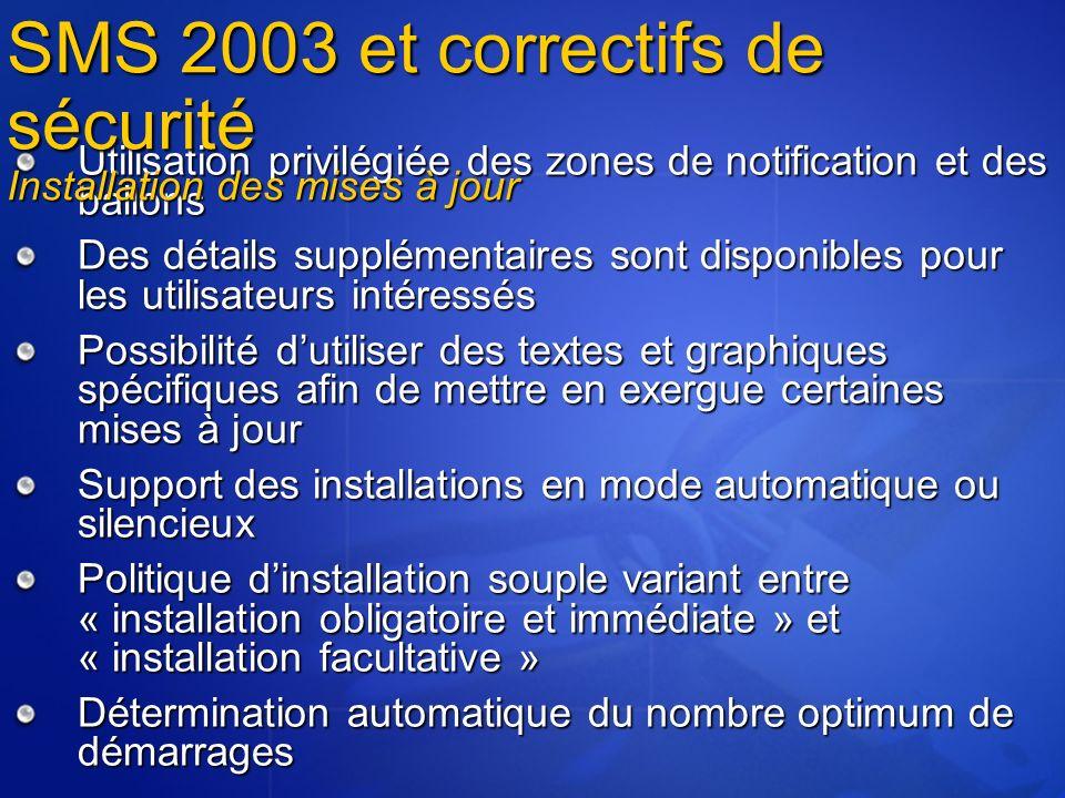 SMS 2003 et correctifs de sécurité Installation des mises à jour