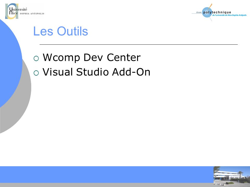 Les Outils Wcomp Dev Center Visual Studio Add-On