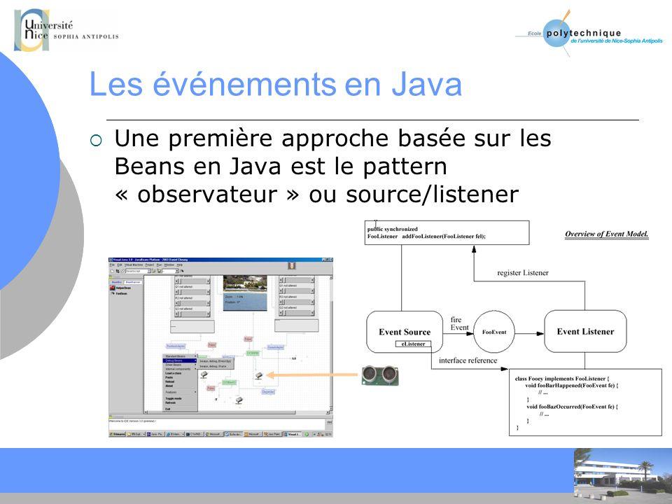 Les événements en Java Une première approche basée sur les Beans en Java est le pattern « observateur » ou source/listener.