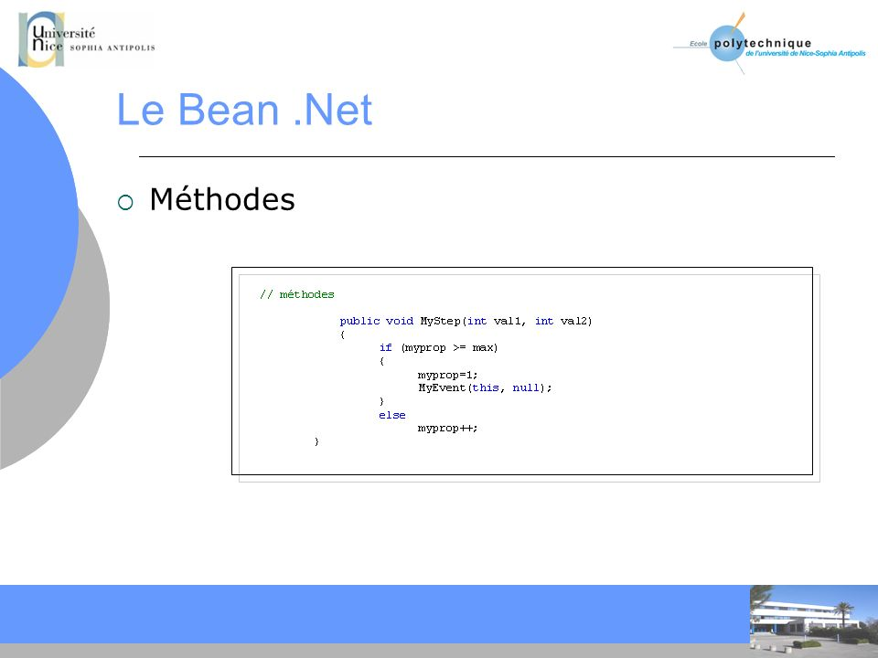 Le Bean .Net Méthodes