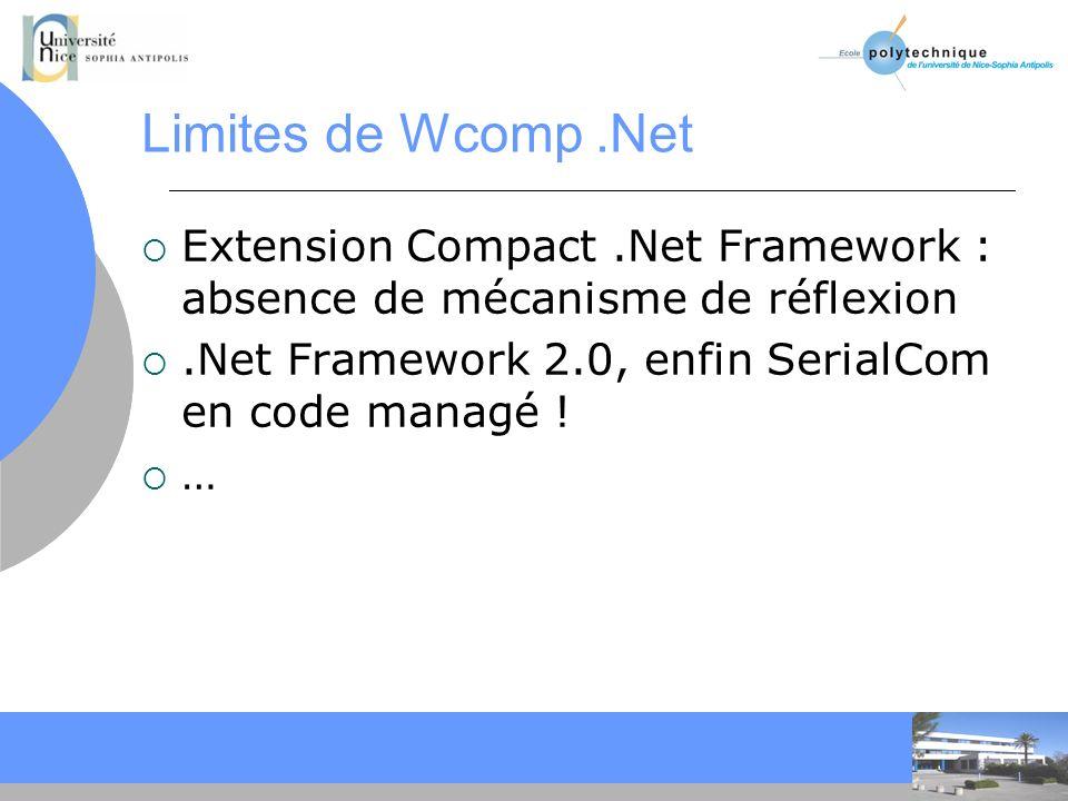 Limites de Wcomp .Net Extension Compact .Net Framework : absence de mécanisme de réflexion. .Net Framework 2.0, enfin SerialCom en code managé !