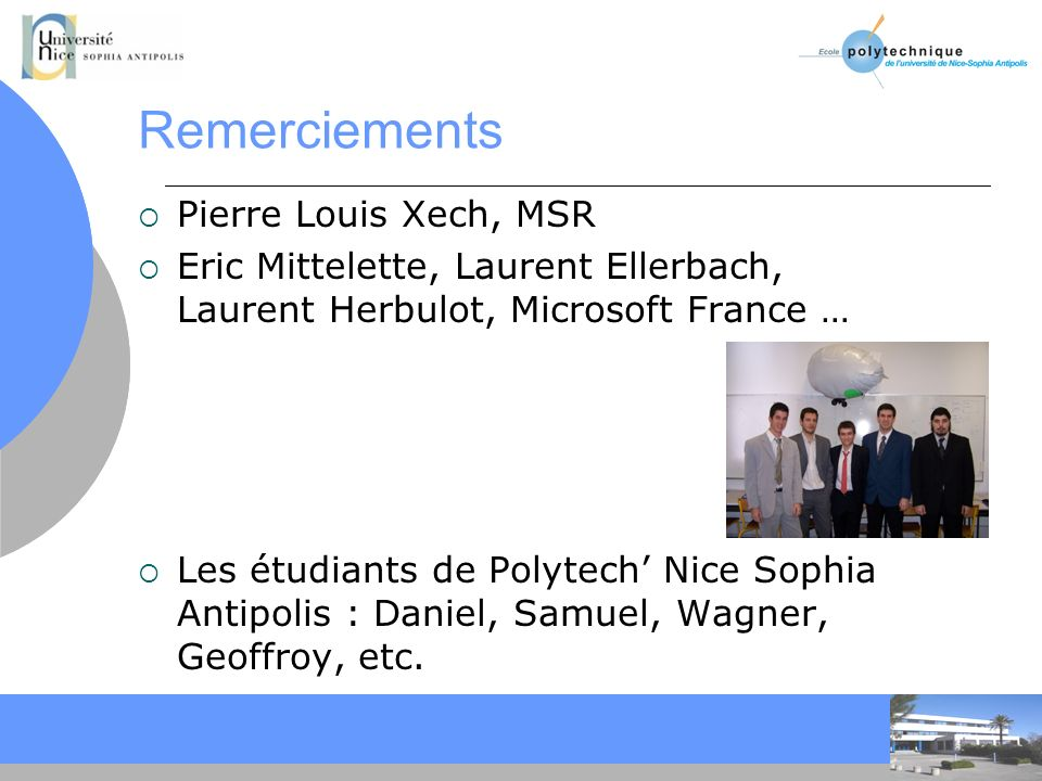 Remerciements Pierre Louis Xech, MSR