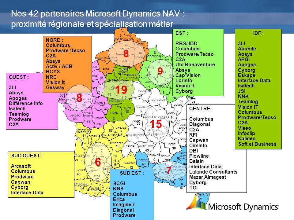 Nos 42 partenaires Microsoft Dynamics NAV : proximité régionale et spécialisation métier