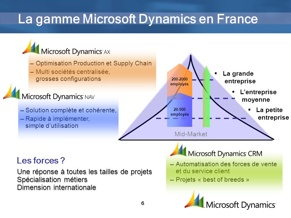 La gamme Microsoft Dynamics en France
