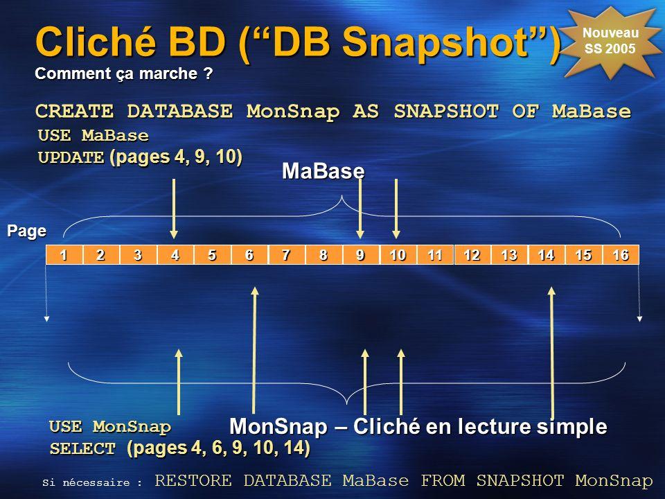Cliché BD ( DB Snapshot ) Comment ça marche