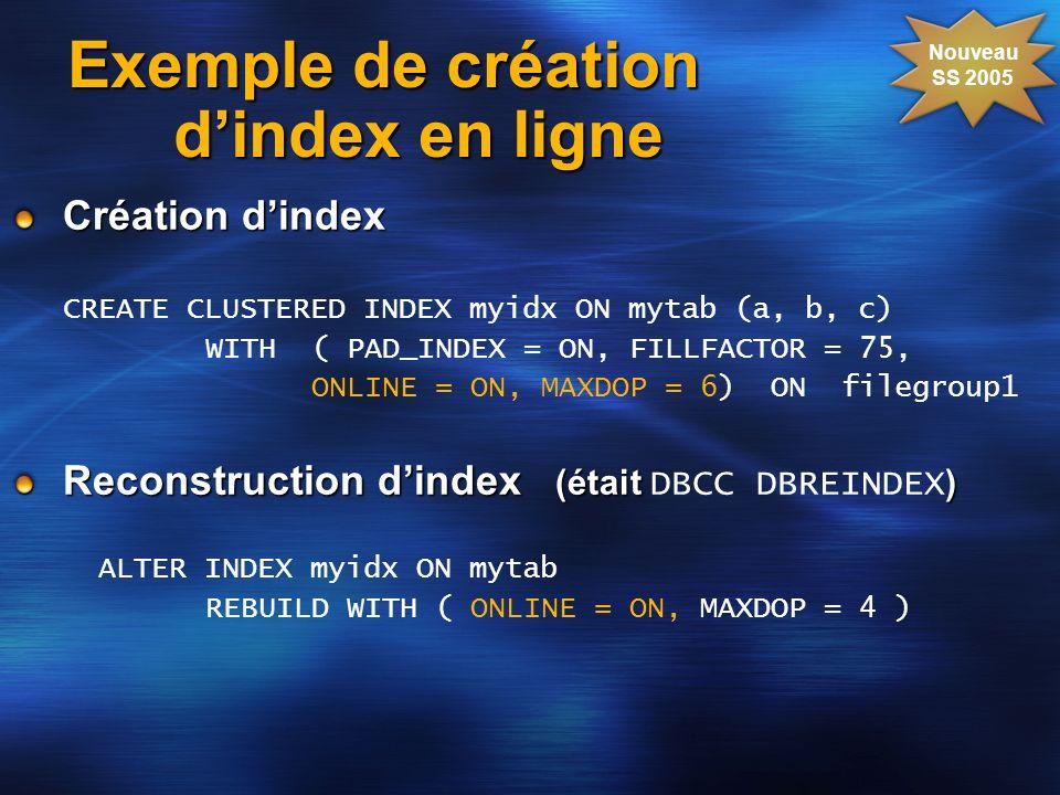 Exemple de création d'index en ligne