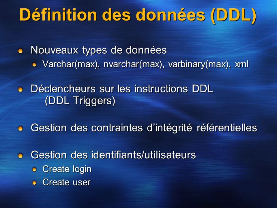 Définition des données (DDL)