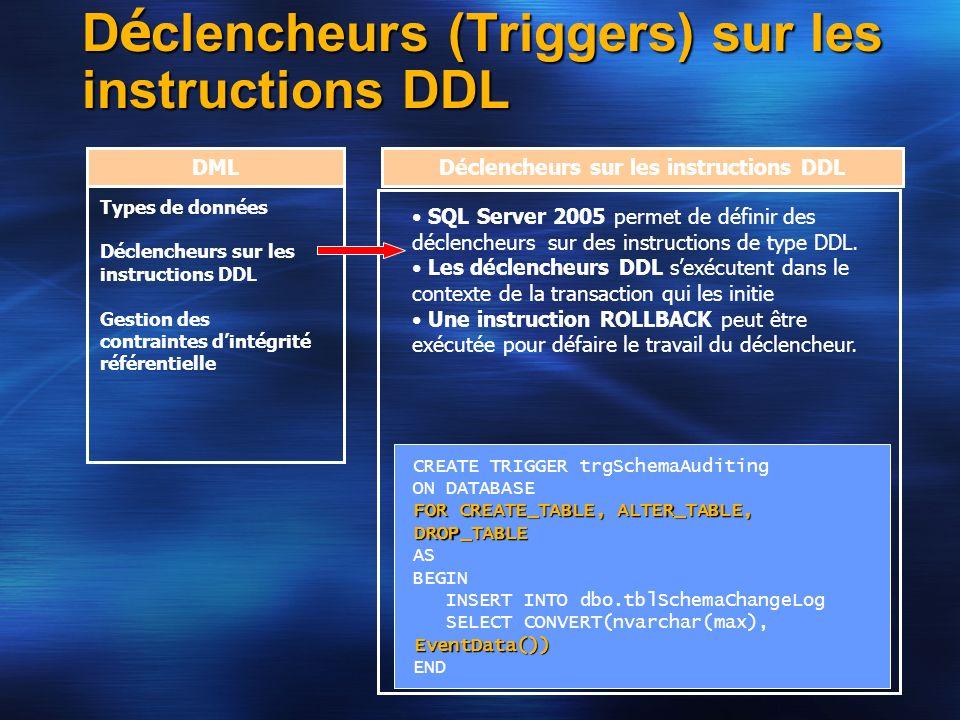 Déclencheurs (Triggers) sur les instructions DDL