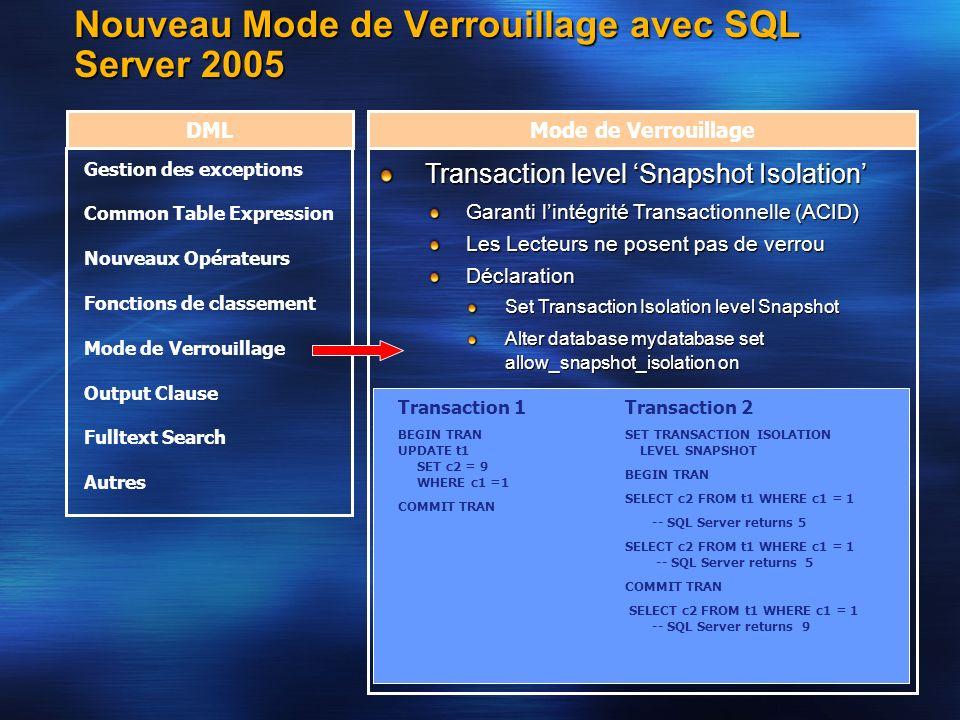 Nouveau Mode de Verrouillage avec SQL Server 2005