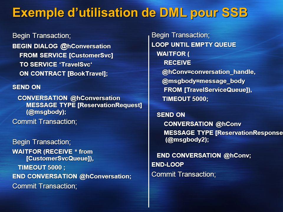 Exemple d'utilisation de DML pour SSB