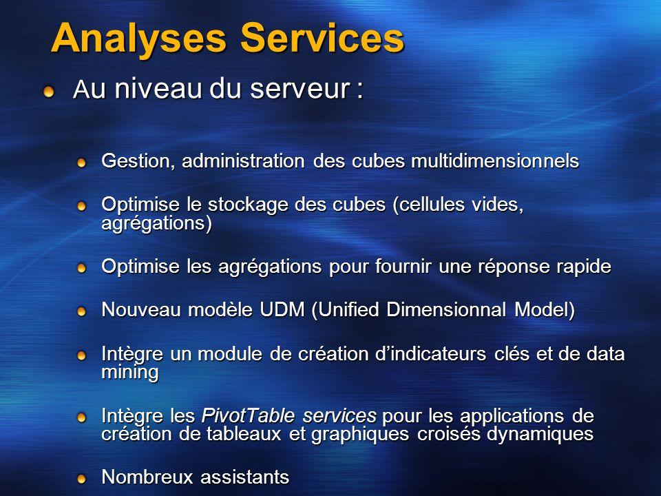 Analyses Services Au niveau du serveur :