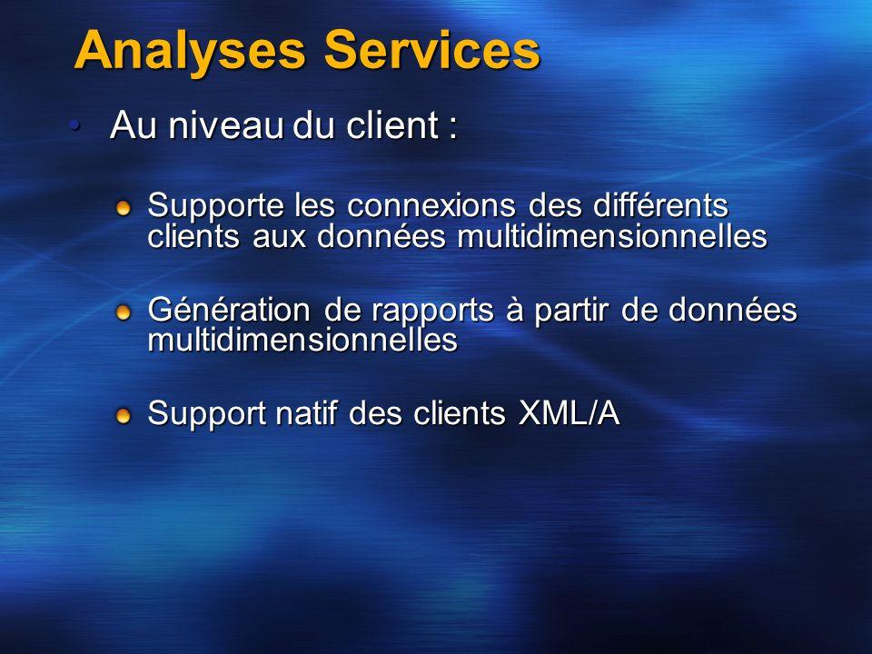Analyses Services Au niveau du client :
