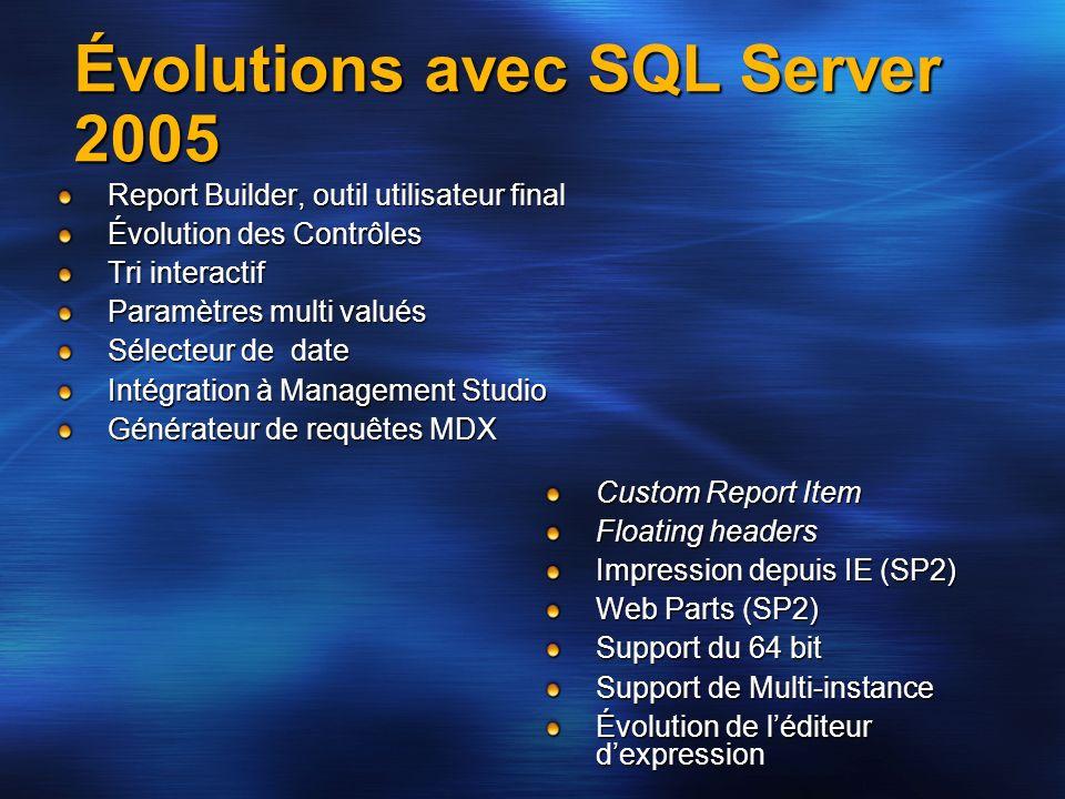 Évolutions avec SQL Server 2005