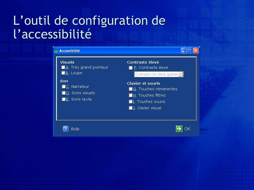 L'outil de configuration de l'accessibilité