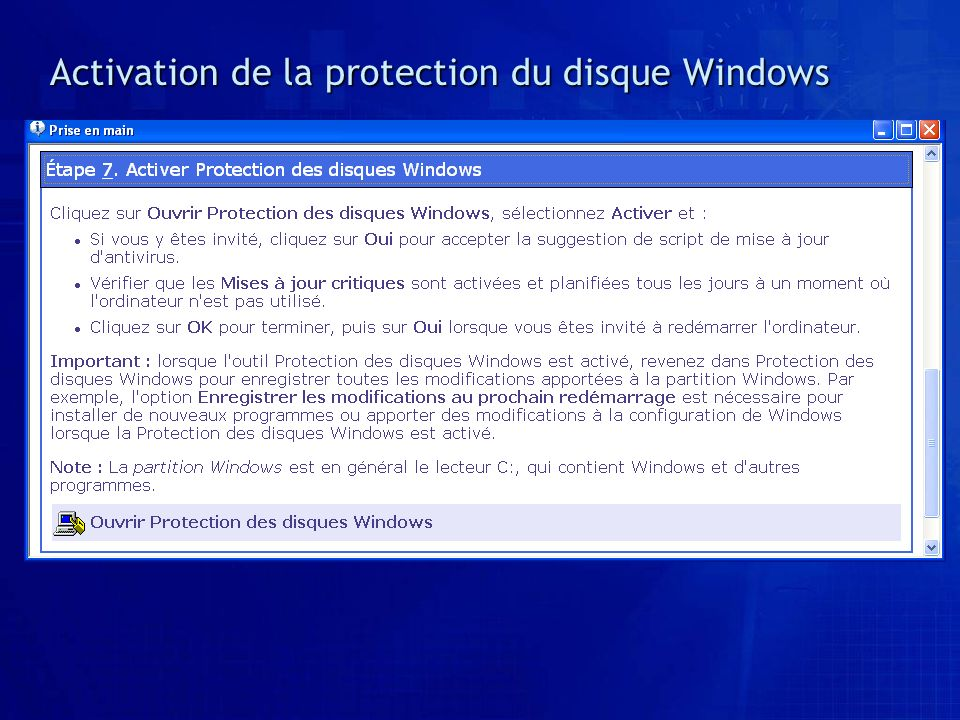 Activation de la protection du disque Windows
