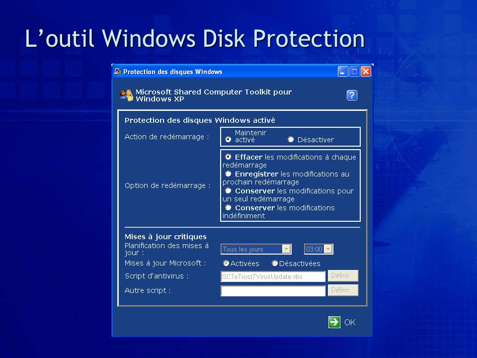 L'outil Windows Disk Protection