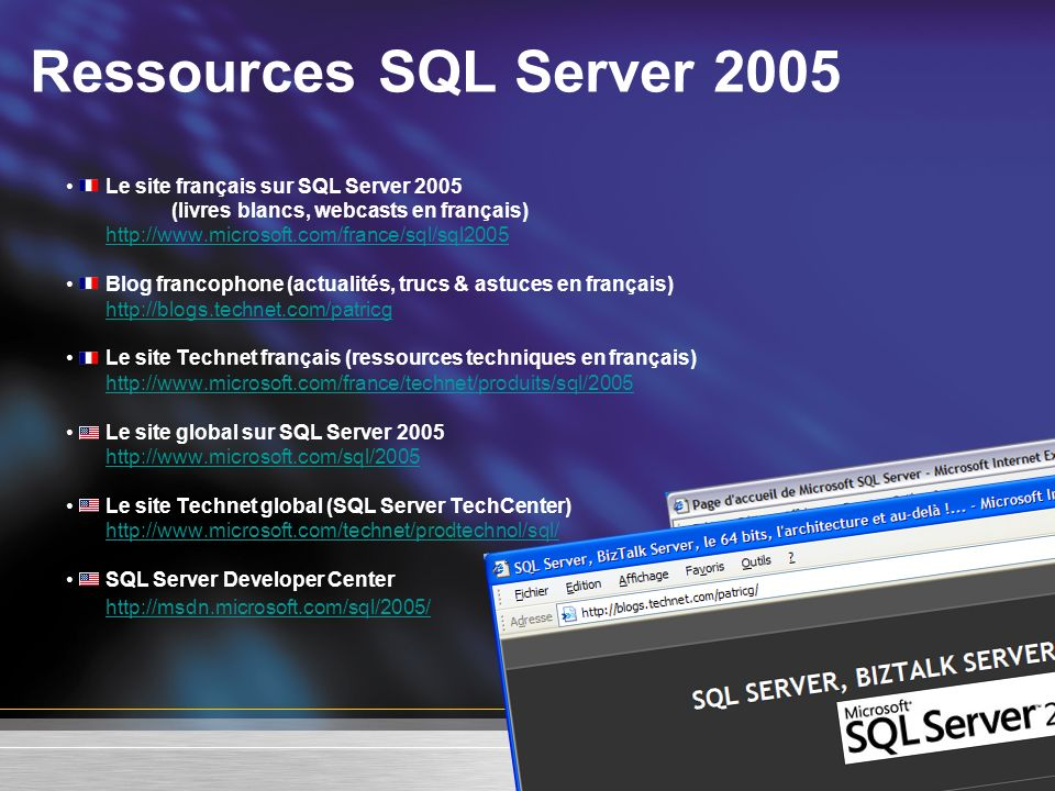 Ressources SQL Server 2005 http://msdn.microsoft.com/sql/2005/