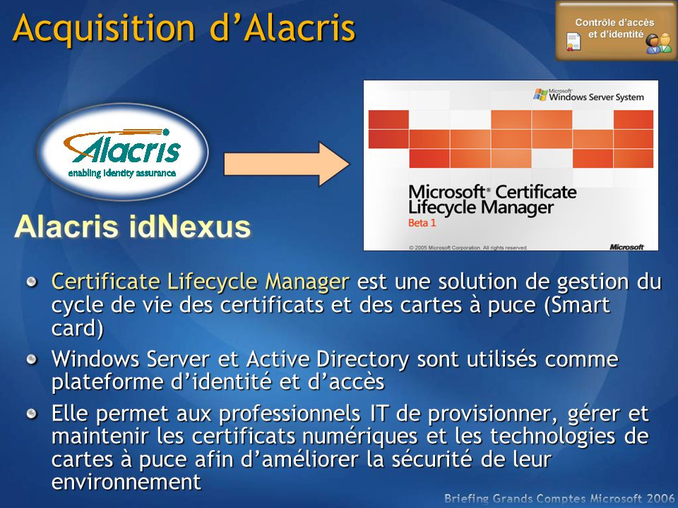Acquisition d'Alacris