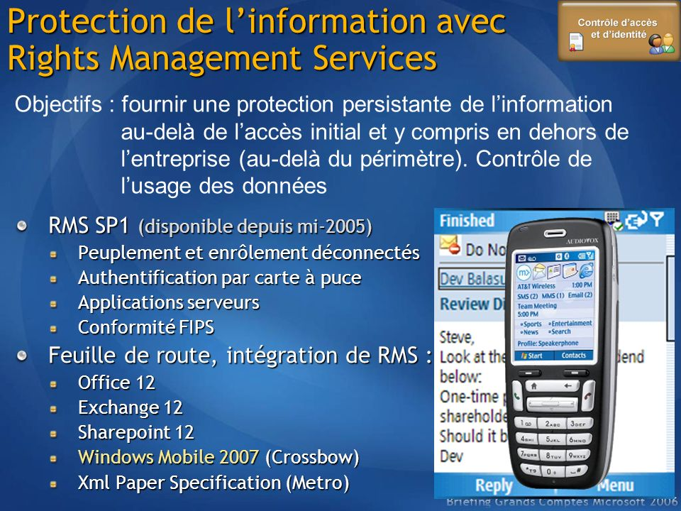 Protection de l'information avec Rights Management Services