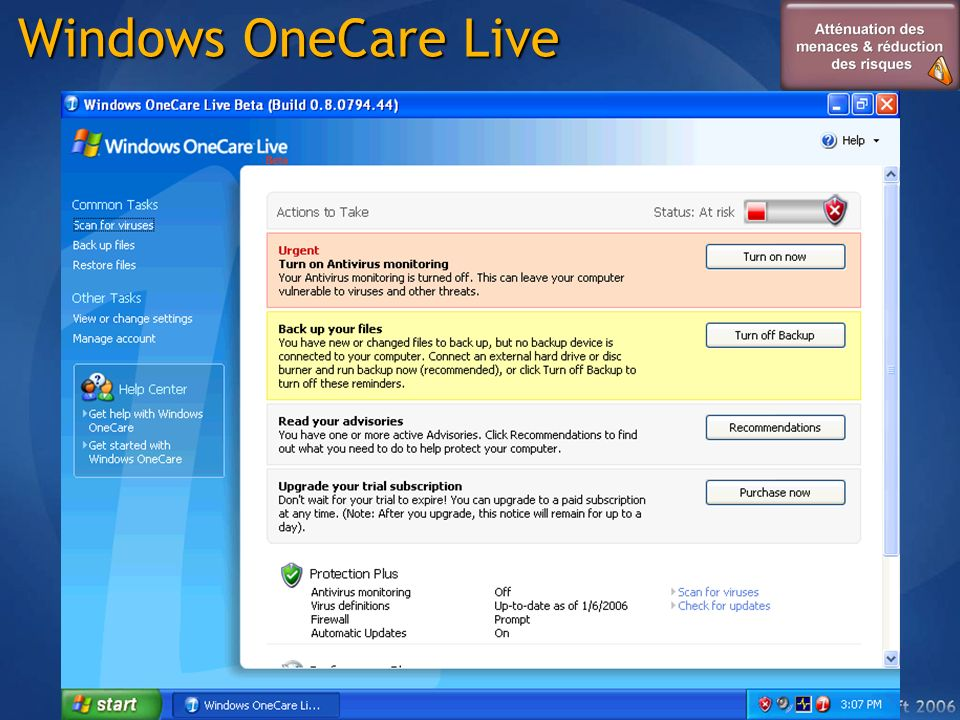 Windows OneCare Live Protection Amélioration des performances