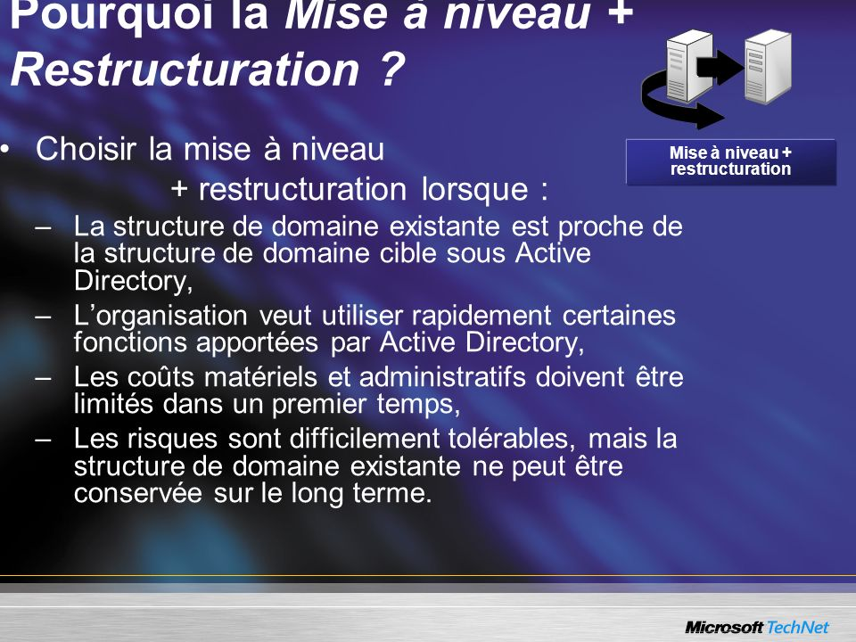 Pourquoi la Mise à niveau + Restructuration