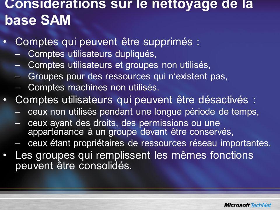 Considérations sur le nettoyage de la base SAM