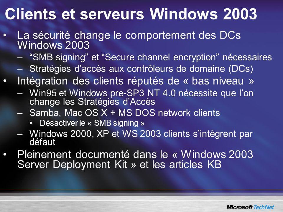 Clients et serveurs Windows 2003