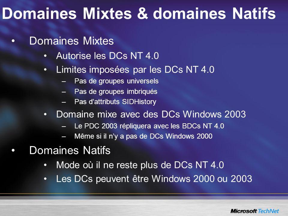 Domaines Mixtes & domaines Natifs