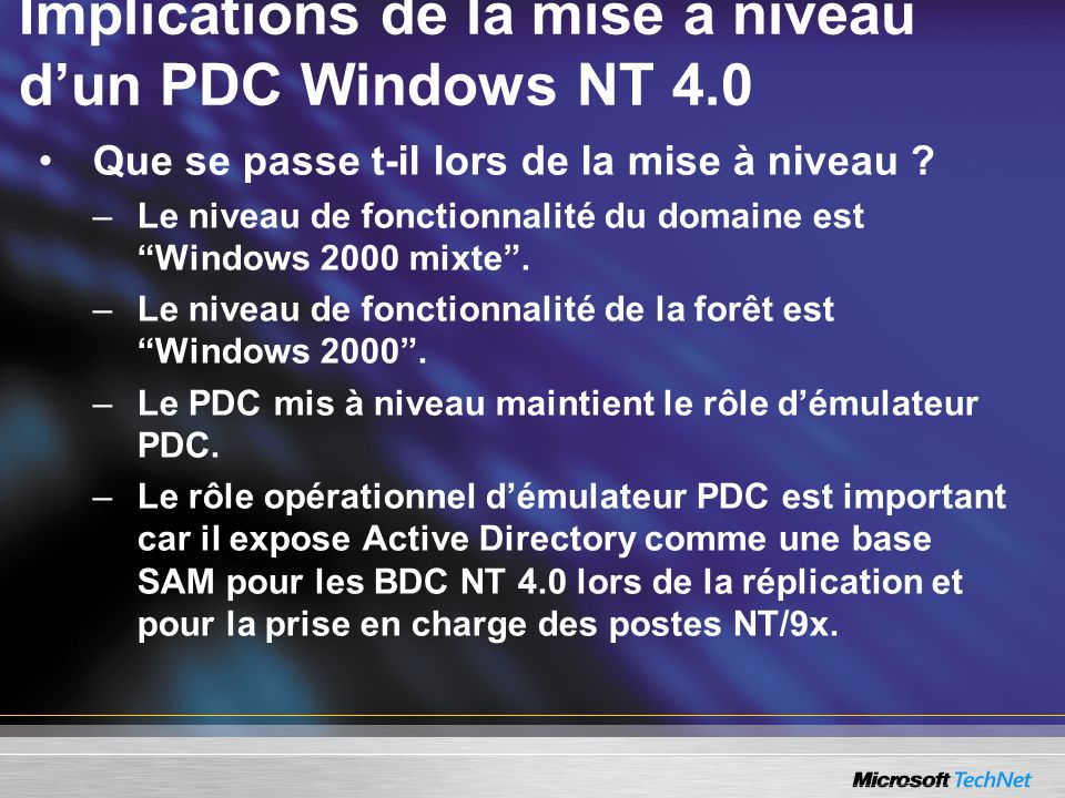 Implications de la mise à niveau d'un PDC Windows NT 4.0