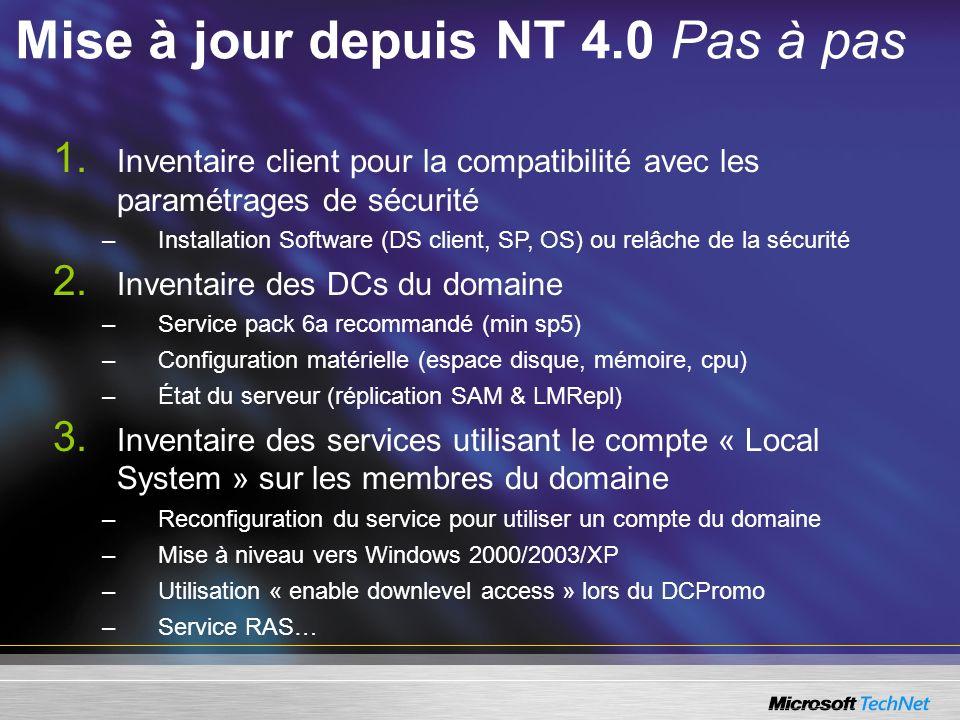 Mise à jour depuis NT 4.0 Pas à pas
