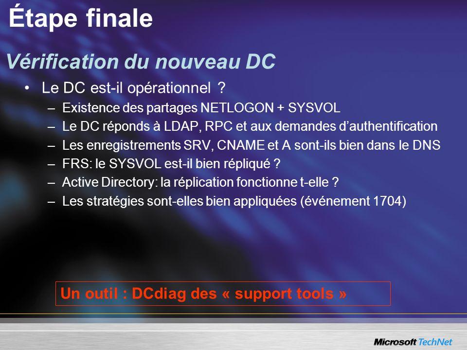 Étape finale Vérification du nouveau DC Le DC est-il opérationnel