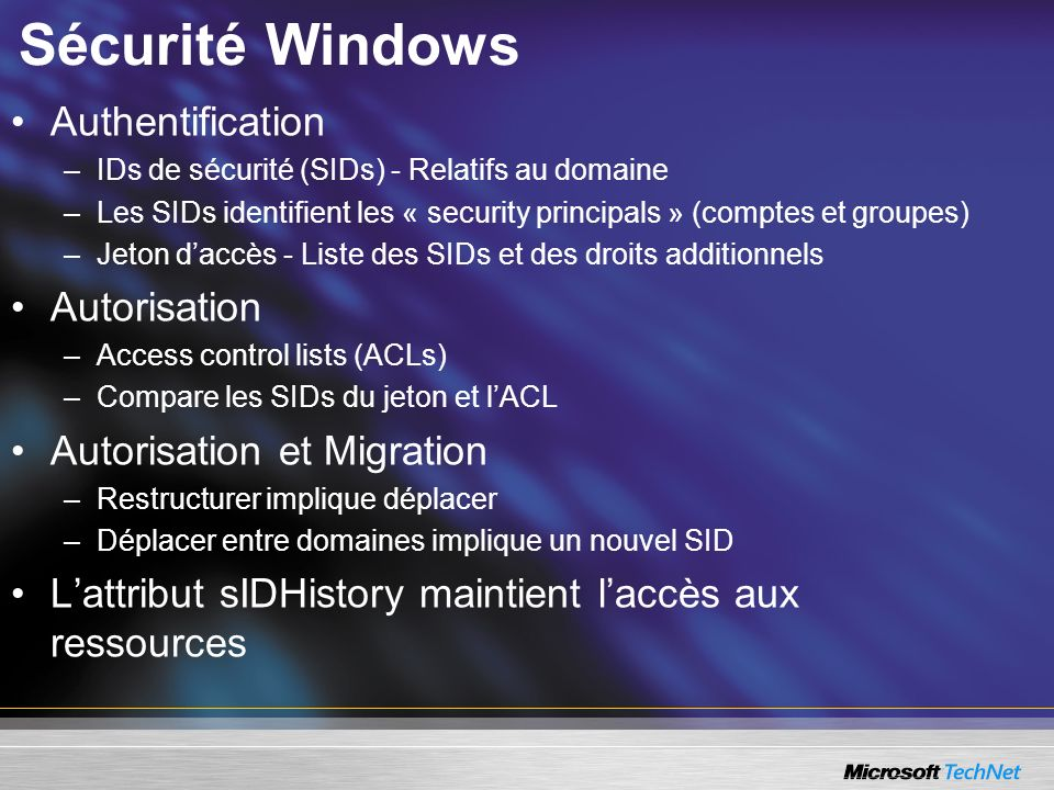 Sécurité Windows Authentification Autorisation