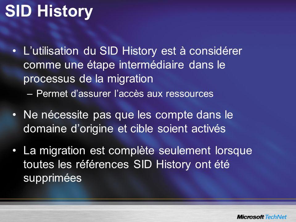 SID History L'utilisation du SID History est à considérer comme une étape intermédiaire dans le processus de la migration.