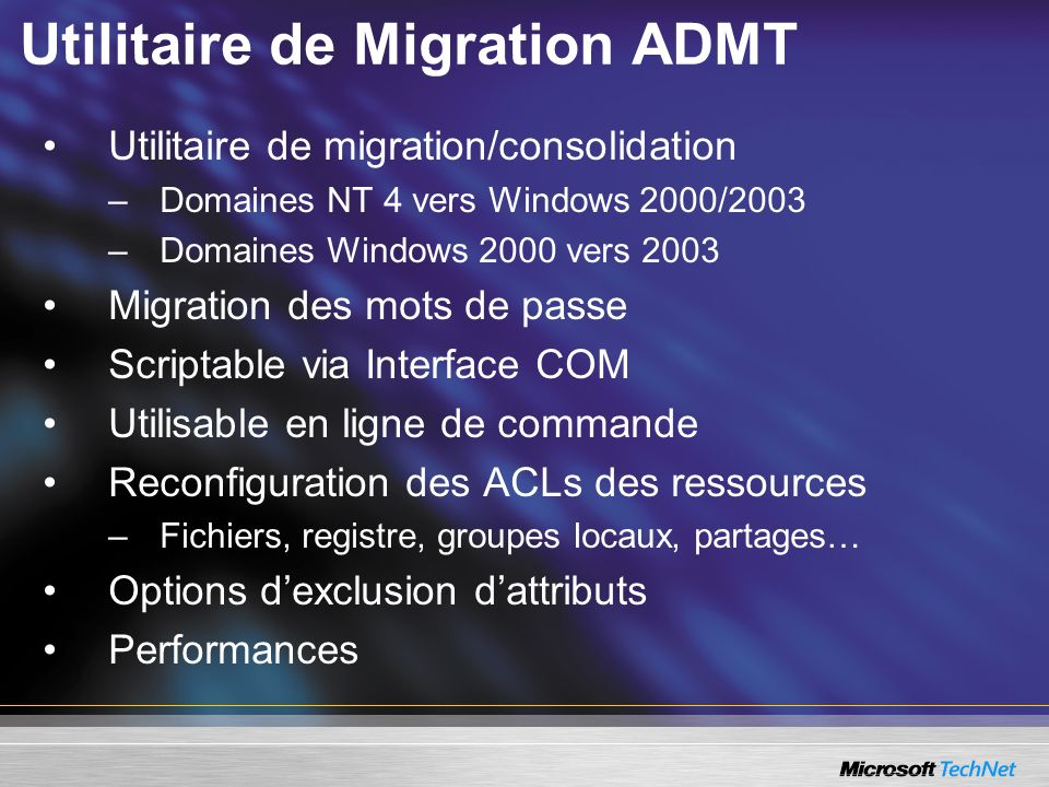 Utilitaire de Migration ADMT