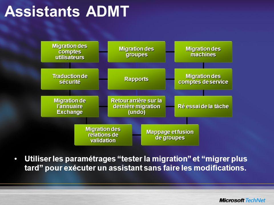 Assistants ADMT Migration des comptes utilisateurs. Migration des groupes. Migration des machines.