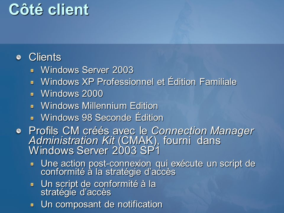 Côté client Clients. Windows Server 2003. Windows XP Professionnel et Édition Familiale. Windows 2000.