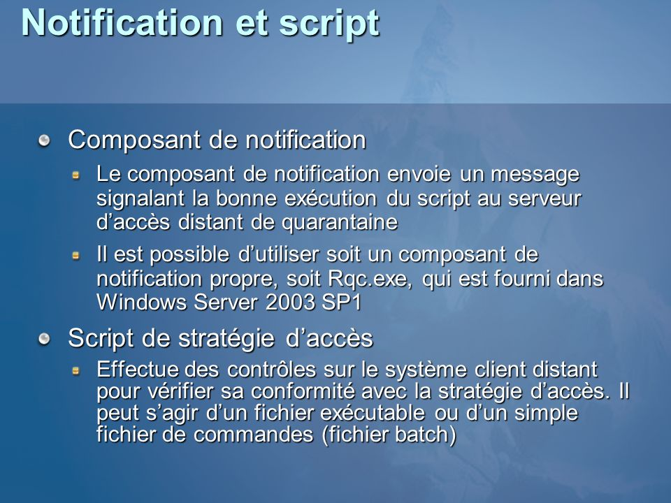 Notification et script