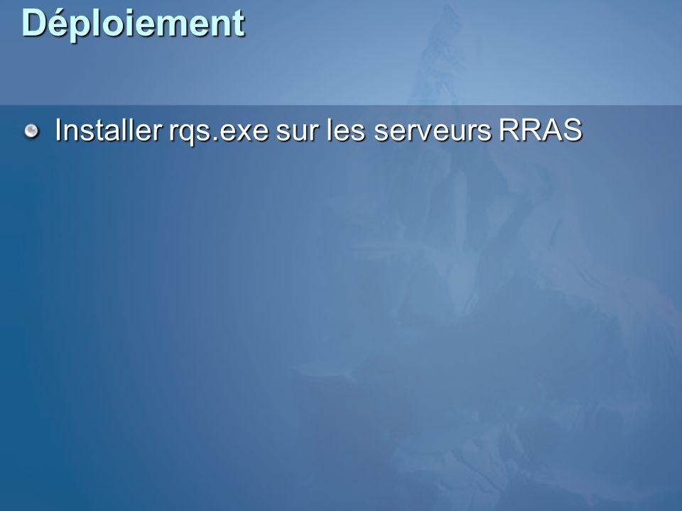 Déploiement Installer rqs.exe sur les serveurs RRAS Config RQS