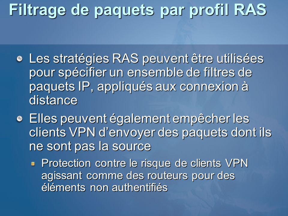 Filtrage de paquets par profil RAS