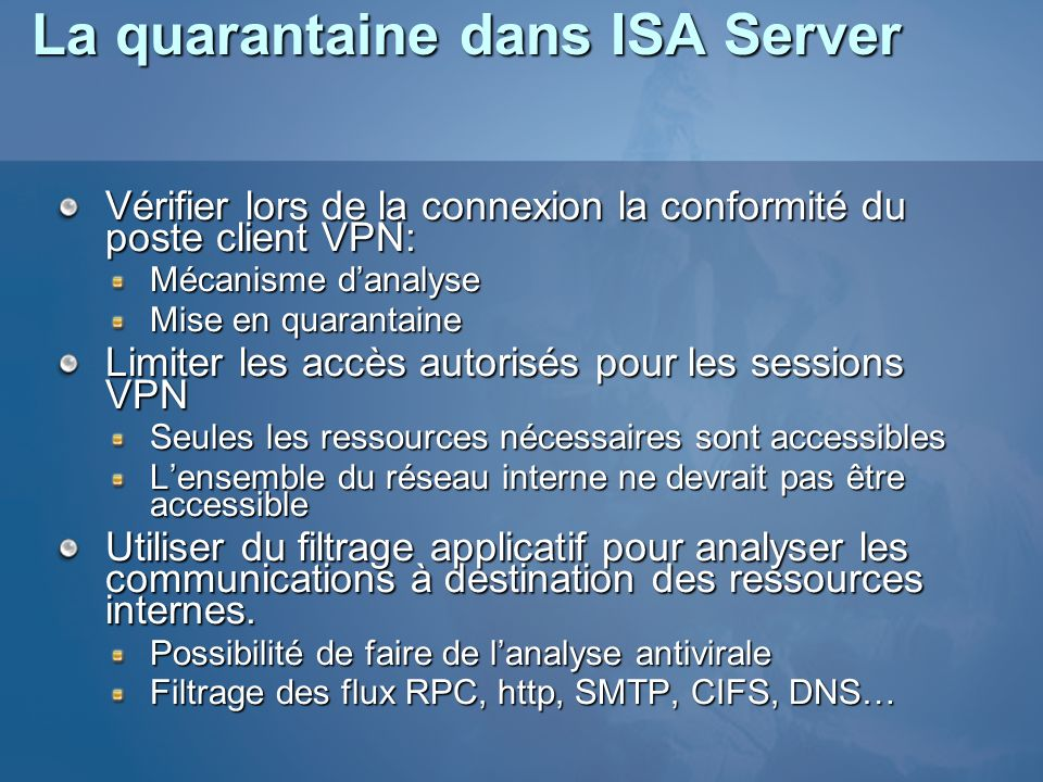La quarantaine dans ISA Server